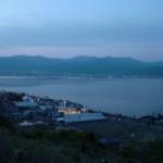 諏訪湖の夕暮れ