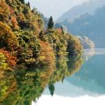 みどり湖畔に映る景色