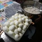 大量の茹で卵