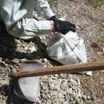 地道に土嚢で予防