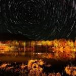 草刈りと茶臼山紅葉星景写真