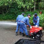 恵みの雨は一気に降る。消防団ポンプ点検