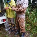 台風21号事後対応で泥だらけ
