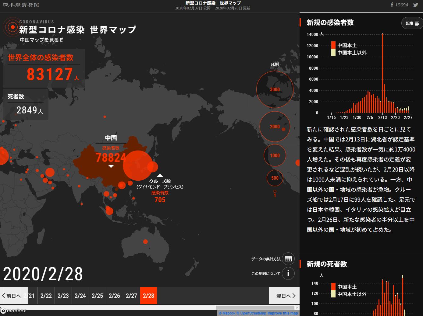 世界 マップ コロナ